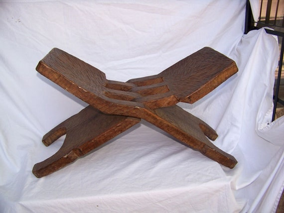 Primitive Carved Chair South American African Folding Stool