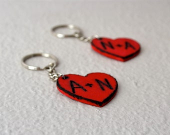 Valentine Key chain hand engraved red wood heart! Set of 2