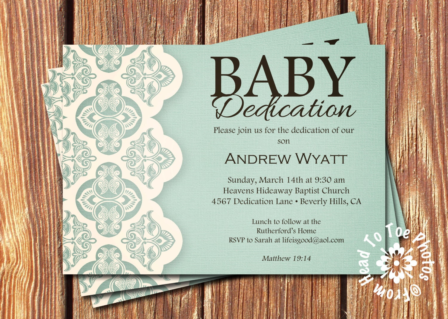 Baby Dedication Invitations by FromHeadtoToeDesigns on Etsy