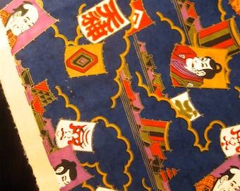 Vintage Japanese Yuzen Chiyogami Paper - Dark Navy Blue w/ Kabuki Motif.