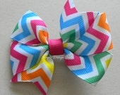 "Chevron Hair Bow - Bright Hair Bow - Rainbow Chevron - Summer Bow - 3"" or 4"" Medium Pinwheel Bow - Rainbow Hair Bow"