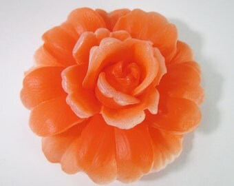 1 Vintage 55mm Orange Rose Glue-On Cabochons Cb62