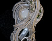 Wire Wrapped Pendant : Aquamarine, Antique White Opal, Diopside, Demantoid Garnet Fine Silver Wire Wrapped Talisman