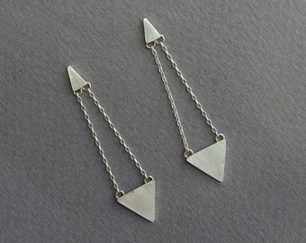 Dangle Triangle Earrings - Geometric - Sterling Silver Post Earrings