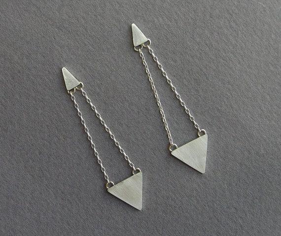 dangle triangle earrings geometric sterling silver post. Black Bedroom Furniture Sets. Home Design Ideas