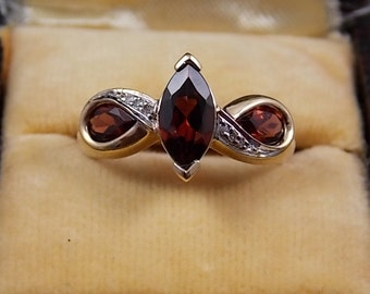 Garnet and Diamond Ring 1.35Ctw size 7.75 10K yellow Gold 3.6gm January Birthstone Ring