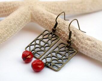 Rustic Dangle Earrings-Old gold geometric earrings with patine red Czech glass, golden red earrings