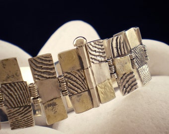 "Solid Sterling Silver Bracelet with 18K Gold - ""Stone"""