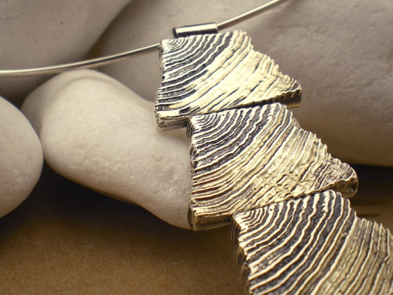 """Solid Sterling Silver 925 Necklace with 18K Gold - """"Wood """""""