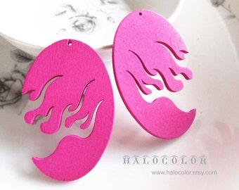 6PCS - 32x50mm Pretty Hot Pink Fire Wooden Charm/Pendant MH232 06