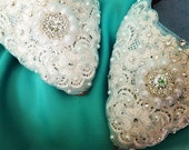 Dazzling Silver and Crystals Bridal Ballet Flats Wedding Shoes - Any Size - Pick your own crystal color