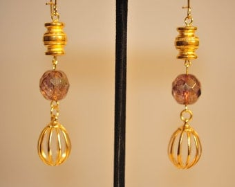 Handmade Vintage Brass Cage Drop Earrings