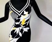 Vintage MOD Swimsuit Tank Bathing Suit Rockabilly Bombshell Pin Up 60s 70 Black White Yellow Geometric Print Boy Leg Cut SIRENA Medium Large