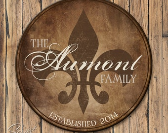 Personalized Wood Family Established Sign, Round Personalized Family Name Sign, Fleur De Lis Name Sign with Est Date, 4 Sizes