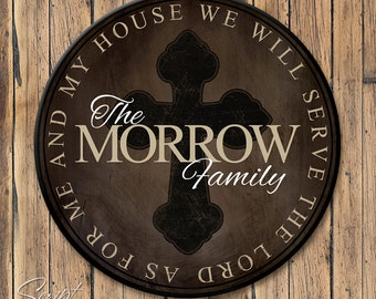 Personalized Family Established Sign, Round Personalized Last Name Sign, As For Me and My House, Joshua 24:15, 4 Sizes