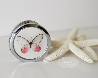 "Photo Compact Mirror- ""Pink Glasswing"", Pink Butterfly Compact, 3"" Chrome Double Sided Compact Mirror- Purse Mirror- Engravable Gift Item"