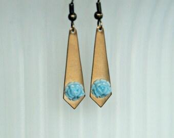 Brass Diamond & Rose Drop Earrings - Antique Gold