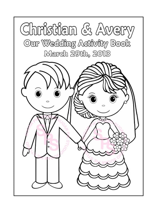 Wedding Coloring Pages Pdf : Printable personalized wedding coloring activity by