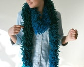 Chunky Knit Long Scarf Teal Blue and Green  - Fall Winter Fashion - Women Teens Accessories - Wrap - Cowl