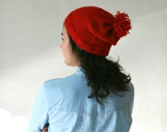 Red Knit Hat with Pom Pom  - Slouchy Beanie - Beret - Fall Winter Fashion - Women Teens Accessories