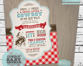 Personalized Vintage Cowboy Baby Shower Invitation
