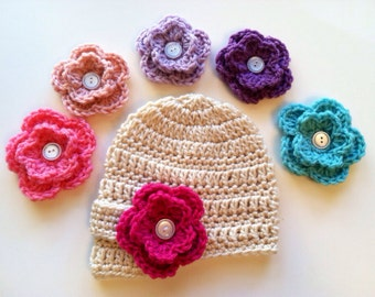 Newsboy Flower Crochet Baby Hat with Interchangeable  Flowers in Newborn, Toddler and Child sizes