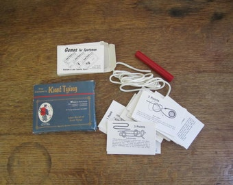 """Vintage """"The Camper's Knot Tying"""" set. Made in U.S.A"""