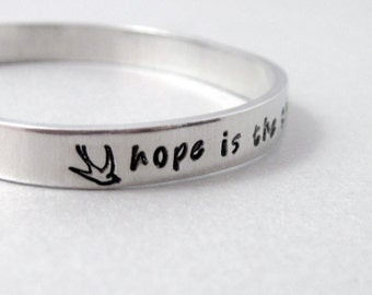 Emily Dickinson Bracelet - Hope is the Thing with Feathers - Hand Stamped Cuff in Aluminum, Golden Brass or Sterling Silver f - customizable