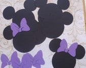 6 Minnie Mouse Head Shapes with Purple  Bows Die Cut pieces for crafts DIY Kids Crafts Birthday Party Banners Tags etc.