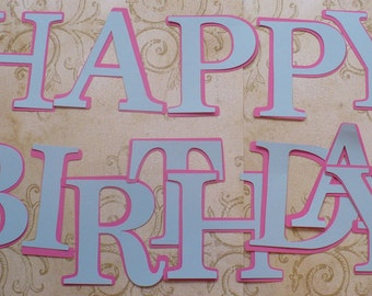HAPPY BIRTHDAY Letters -  4 inch - Die Cuts pieces with Shadow pcs for DIY Banner pieces from cardstock