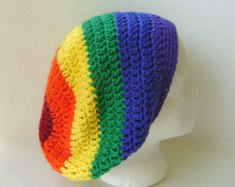 Slouchy Crochet Hat in Rainbow, Beret Womans Beanie Womens Accessories