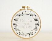 Follow your dreams - original watercolor, quote hoop art, 5''