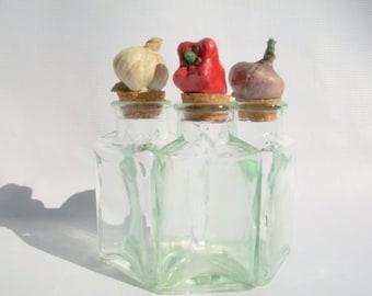 3 Decorative Vintage Condiment Bottles