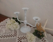 Wedding Unity Candle Holder White Shabby Chic Beautiful Rustic Romantic Taper Candelabra Ornate Scrolled Spring Summer Fall Autumn Winter