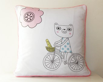 Cushion pillow cover 30cm Bears on Bikes pink