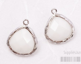 F100-S-MW// Rhodium Framed Milky White Faceted Glass Stone Pendant, 2 pcs