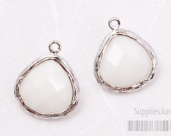 F100-S-MW// Rhodium Framed Milky White Faceted Glass Stone Pendant, 2 pcs