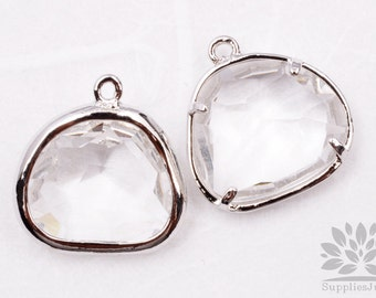 F119-02-S-CR// Silver Framed Crystal Glass Stone Pendant, 2Pcs