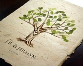 Hand Drawn Custom Fingerprint Tree with Watercolor - Wedding Guestbook - 50 - 100 Guests