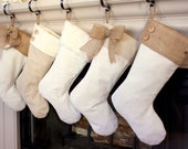 Christmas Stockings with Burlap Accents - The Madison Line- Set of Five (5) - Burlap Christmas