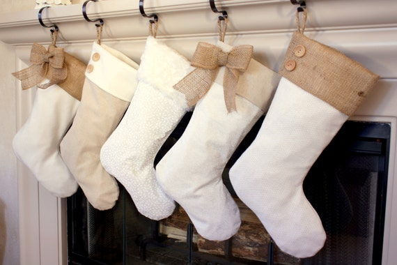 Single Stocking (1) - Christmas Stockings with Burlap Accents - The Madison Line- Burlap Christmas