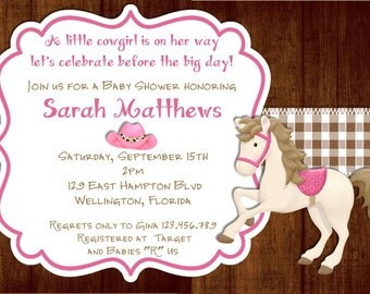 Rustic Wood Cowgirl Baby Shower Invitation - Printable Pink Brown Invite