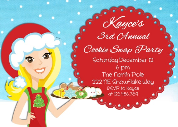 Cookie Exchange Swap Christmas Party Invitation  Printable Design