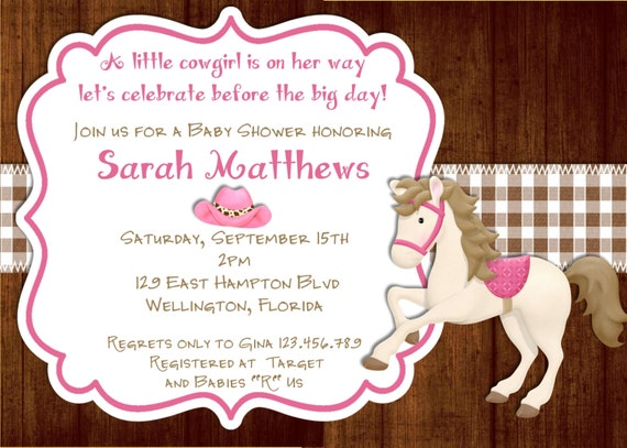 Items Similar To Rustic Wood Cowgirl Baby Shower Invitation