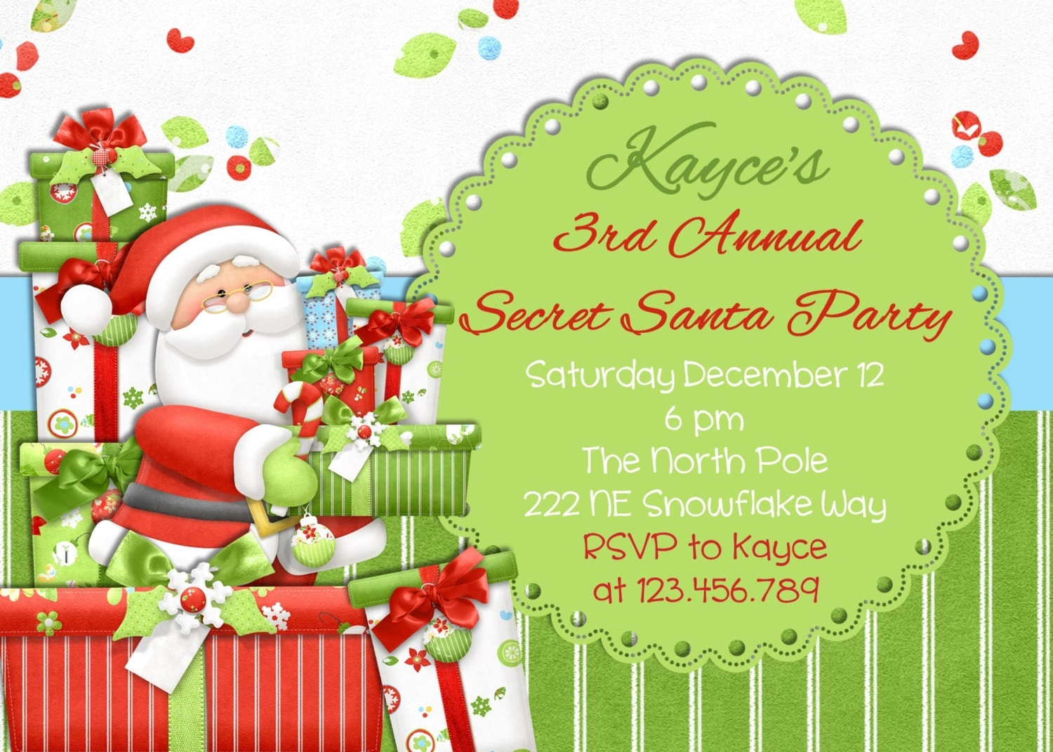 Secret Santa Christmas Party Invitation Printable Design