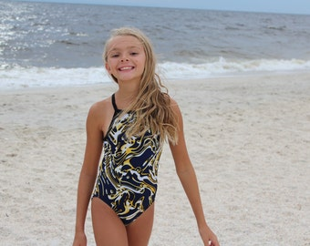 Yellow, Black, and white swirl print Racerback Strap Swimsuit bathing suit