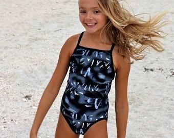 "Black, gray, and white ""SWIM"" Print Racerback Swimsuit/ Bathing Suit"