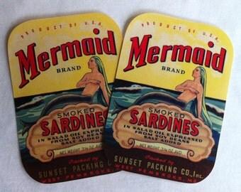 Mint Mermaid Sardines Ad Bathing Beauty Label figurine Advertising Print Litho Lot of 2 Vintage