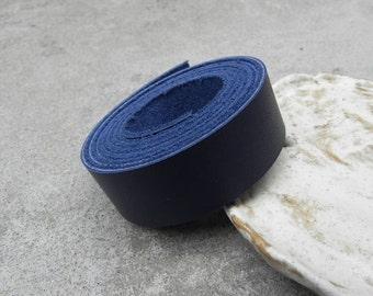 1 Yard (900X20mm)- Dark Navy Cowhide Lace Strap, Genuine Leather Strap