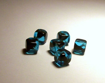 Vintage Givre Aqua with Black Swirl Glass Diagonal Drilled Cube Beads - 8mm - (6)
